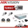 Kit Dvr Hikvision 4 Turbo Hd + 2 Cámaras + Cables + Fuentes