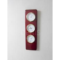 Reloj De Pared Eurotime-madera Laqueada-temperatura-humedad-