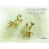 Aros Diamante Herkimer Plata 925