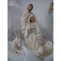 Pesebre Sagrada Familia En Porcelana Horneada Con Animales