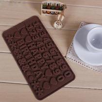 Molde De Silicona Chocolate Happy Birthday Numeros Bombones
