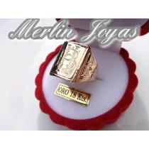 Anillo Sello C/ Iniciales Grab. Oro 18k - 9 Gramos - M. J.