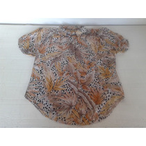 Blusa Animal Print Semi Transparente, Talle S, Hermosa!