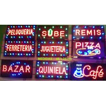 Cartel Led Abierto Kiosco Peluquería Almacen Café Bar Varios
