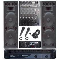 Bafle Columna 1000w X 2 + Mixer 12ch+ Potencia 800w+mic+auri