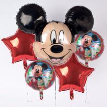 Kit Bouquet 5 Globos Mickey Listos P/ Inflar Helio O Aire