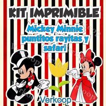 Kit Imprimible Mickey Y Minnie Mouse Safari Puntos Y Rayas A