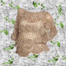 Chaleco Tejido Crochet Sin Forro Mangas Cortas