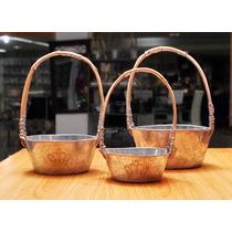 Set 3 Canastos Galvanizados Con Manija Rusticos - Sheshu