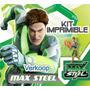 Kit Imprimible Max Steel Invitaciones Tarjetas Marcos Fondos