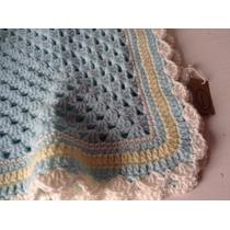 Manta Tejida A Mano Crochet 64*64 Cm Celeste Amarillo Blanco