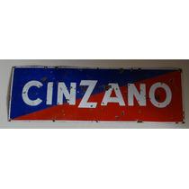 150 X 50 Antiguo Cartel Enlozado Cinzano Original Enorme!