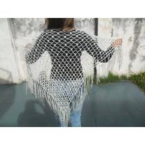 Chal Chalina Con Brillos Tejido Al Crochet Hilo Nuevo Modelo