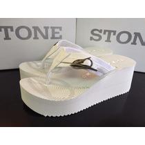 Ojotas Blancas,taco Alto, Plataformas, Sandalias Stone Mujer