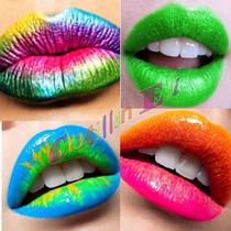 Cotillon Maquillaje Labiales Fluo Fiestas Neon X 4 Unidades