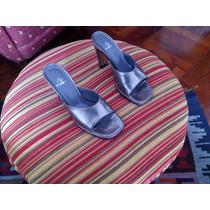 Sandalias Pinet Nº 35 Cuero Metalizado Color Peltre