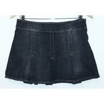 Pollera Mini De Jeans Con Tablas Gris Taf Demin Talle 28/m