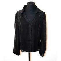 Camisa Manga Larga De Gasa Transparente Negra Con Encaje