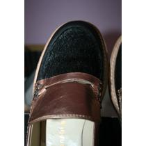 Zapatos Mocasines Carla Danelli Negro Con Piel Y Bronce