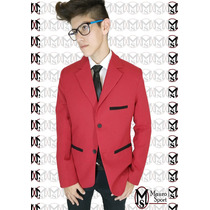 Saco Sport Entallado (ultima Moda) Color Rojo