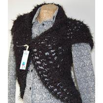 Chaleco Negro Tejido A Mano - Crochet