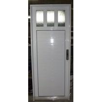 Puerta Exterior Aluminio 80x200 Con 1/4 De Vidrio Reforzada