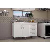 Mueble Bajo Mesada 120 Cm Blanco Roble Cocina 1.20m Laqueado