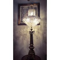 Antigua Importante Lámpara Imperio Bronce Cristal Unica