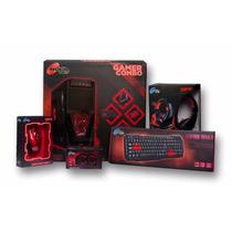 Gabinete Gamer Noga Combo Teclado Mouse Parlantes Fuente+kit