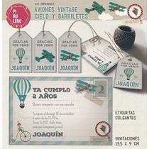 Kit Imprimible Aviones Vintage Fiesta