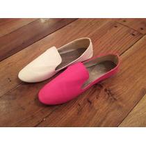 Zapatos Chatitas De Eco Cuero Blanco Y Fuxia