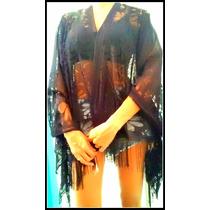 Kimono Negro De Encaje Y Flecos