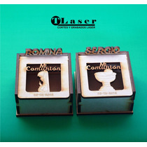 Caja Fibro Facil Personalizada 7x7x5cm Bisagra Comunion Baut