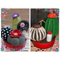 Maceta Con Varios Cactus (al Crochet).