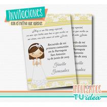 Comunión Nena - Estampita Para Imprimir Nenita Con Rosario