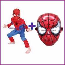Disfraz + Mascara Spiderman Hombre Araña 4 Piezas
