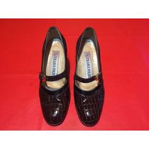 Zapatos De Cuero Gamuza Guillermina Taco Medio Talle 35 Joya