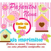 Kit Imprimible Pajaritos Nena Bautismo Nena
