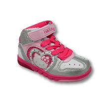 Zapatillas Botitas Kitty Con Luces Velcro Y Cordón