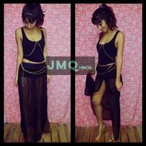 Pollera Negra Larga + Top + Mini Falda O Short