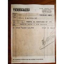 Boleta Venta Antigua De Terrabusi Buenos Aires Año 1955