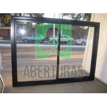 Ventana Aluminio Negro Entero 150x090 Puertas Aberturas