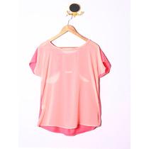 Remera Blusa Manga Corta Rosa Con Gasa Mujer