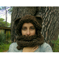 Gorro - Bufanda (cuello) Con Orejas. (tipo Ewok, Osito, Etc)