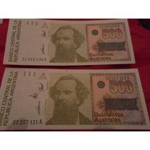 Billetes Argentinos Antiguos - 500 Australes X 2 Unidades