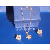 Swarovski Edicion Limitada Oro 18k Safiro Corona Aros Collar