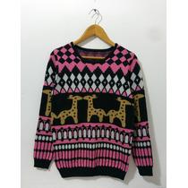 Sweater De Cuello Redondo Con Angora