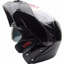 Casco Beon B700 Shiny Black Rebatible Doble Visor Fas Motos