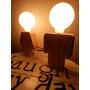 Veladores Lámparas De Madera Nena Y Nene Con Cable Textil