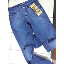 Jeans Chupin Elastizado Mujer Roturas Talles 24 26 28 30 32